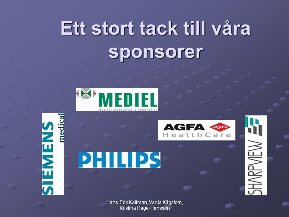 Hans-Erik Källman, Vanja Kågstöm, Kristina Hage-Hansson Ett stort tack till våra sponsorer