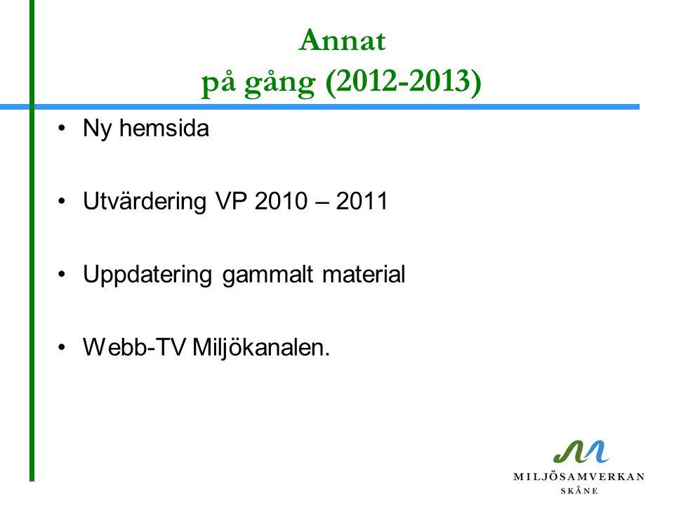 Annat på gång (2012-2013) •Ny hemsida •Utvärdering VP 2010 – 2011 •Uppdatering gammalt material •Webb-TV Miljökanalen.