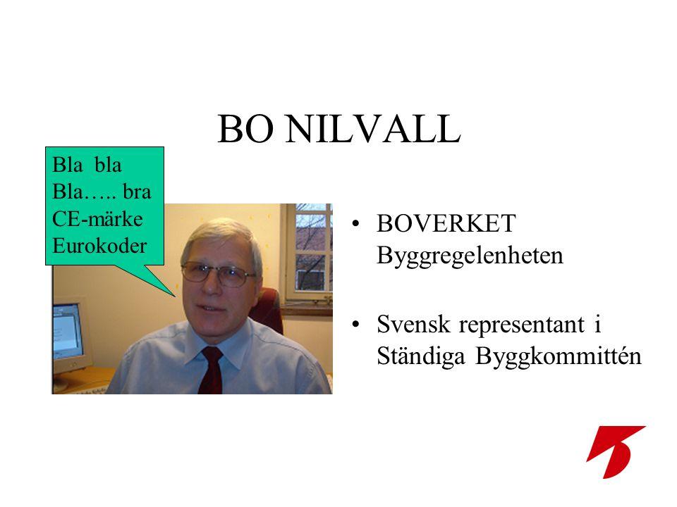 BO NILVALL •BOVERKET Byggregelenheten •Svensk representant i Ständiga Byggkommittén Bla bla Bla….. bra CE-märke Eurokoder
