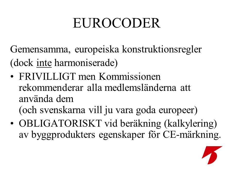 EUROCODER Gemensamma, europeiska konstruktionsregler (dock inte harmoniserade) •FRIVILLIGT men Kommissionen rekommenderar alla medlemsländerna att använda dem (och svenskarna vill ju vara goda europeer) •OBLIGATORISKT vid beräkning (kalkylering) av byggprodukters egenskaper för CE-märkning.
