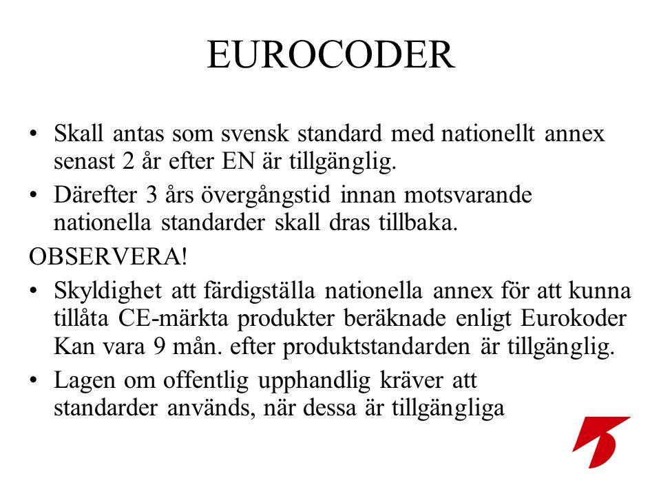 EUROCODER •Skall antas som svensk standard med nationellt annex senast 2 år efter EN är tillgänglig.