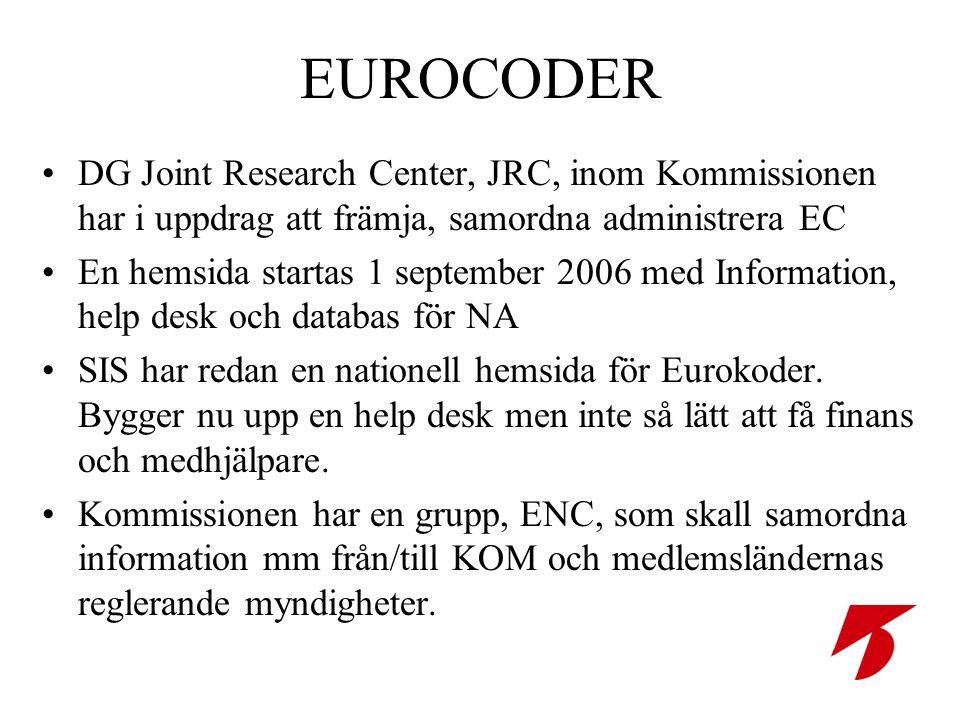 EUROCODER •DG Joint Research Center, JRC, inom Kommissionen har i uppdrag att främja, samordna administrera EC •En hemsida startas 1 september 2006 med Information, help desk och databas för NA •SIS har redan en nationell hemsida för Eurokoder.