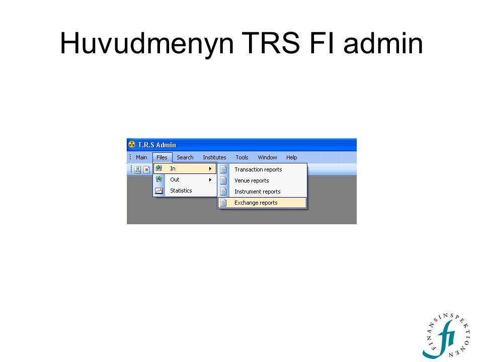 Huvudmenyn TRS FI admin