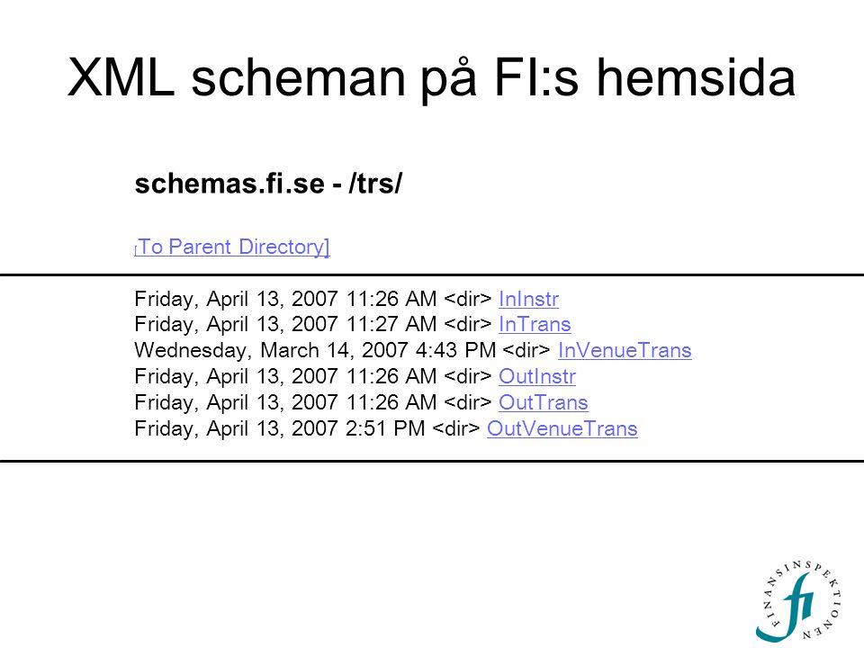 XML scheman på FI:s hemsida schemas.fi.se - /trs/ [ To Parent Directory] [ To Parent Directory] Friday, April 13, 2007 11:26 AM InInstr Friday, April