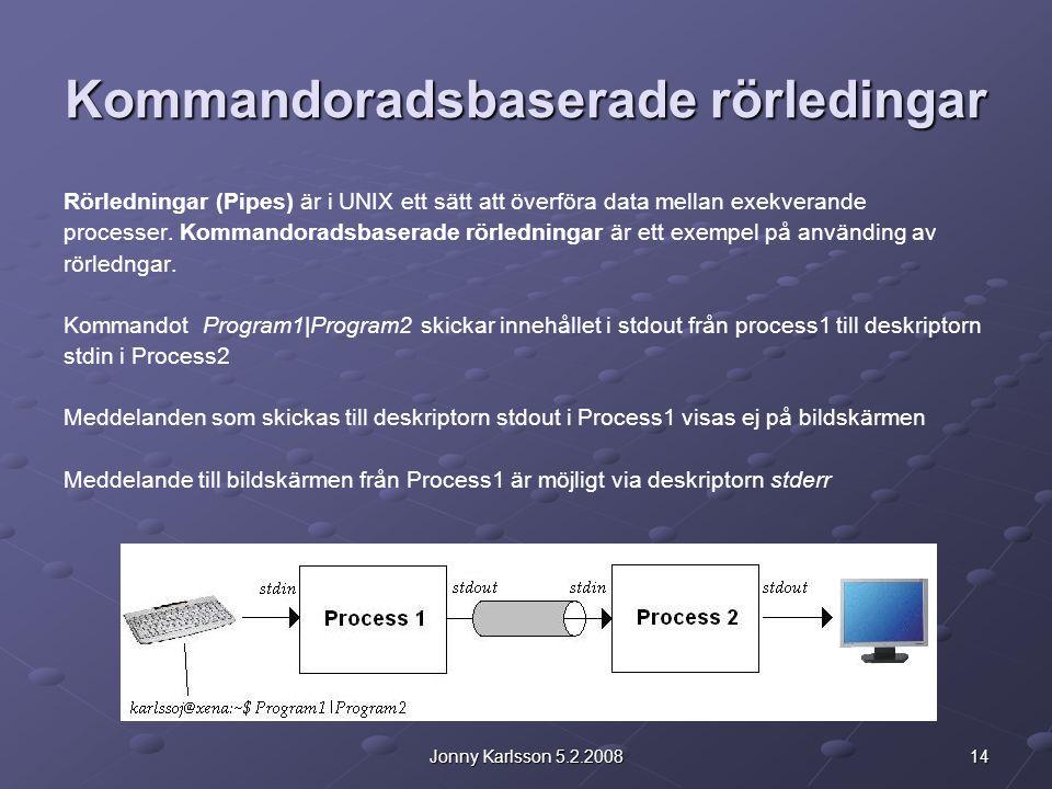 14Jonny Karlsson 5.2.2008 Kommandoradsbaserade rörledingar Rörledningar (Pipes) är i UNIX ett sätt att överföra data mellan exekverande processer.