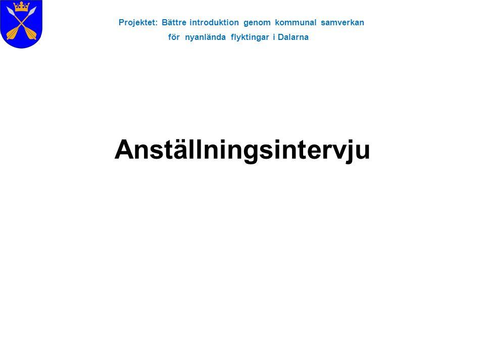 Projektet: Bättre introduktion genom kommunal samverkan för nyanlända flyktingar i Dalarna Anställningsintervju
