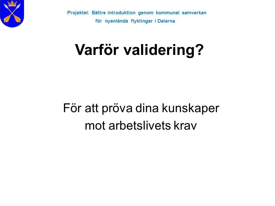 Projektet: Bättre introduktion genom kommunal samverkan för nyanlända flyktingar i Dalarna För att pröva dina kunskaper mot arbetslivets krav Varför v
