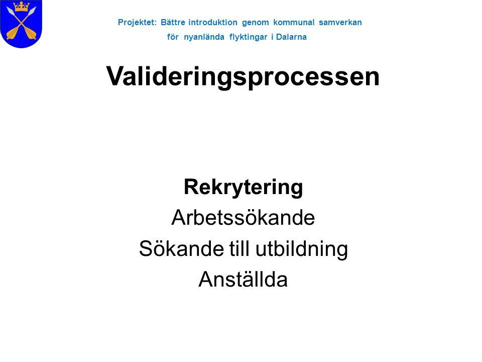 Projektet: Bättre introduktion genom kommunal samverkan för nyanlända flyktingar i Dalarna Rekrytering Arbetssökande Sökande till utbildning Anställda