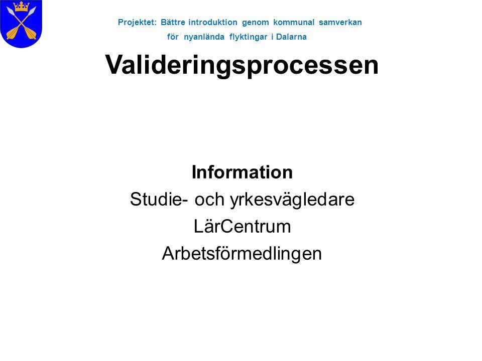 Projektet: Bättre introduktion genom kommunal samverkan för nyanlända flyktingar i Dalarna Information Studie- och yrkesvägledare LärCentrum Arbetsför