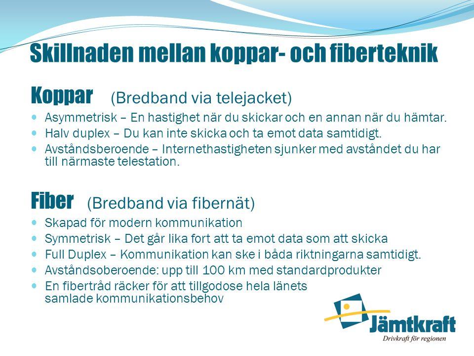 Skillnaden mellan koppar- och fiberteknik Koppar (Bredband via telejacket)  Asymmetrisk – En hastighet när du skickar och en annan när du hämtar.  H
