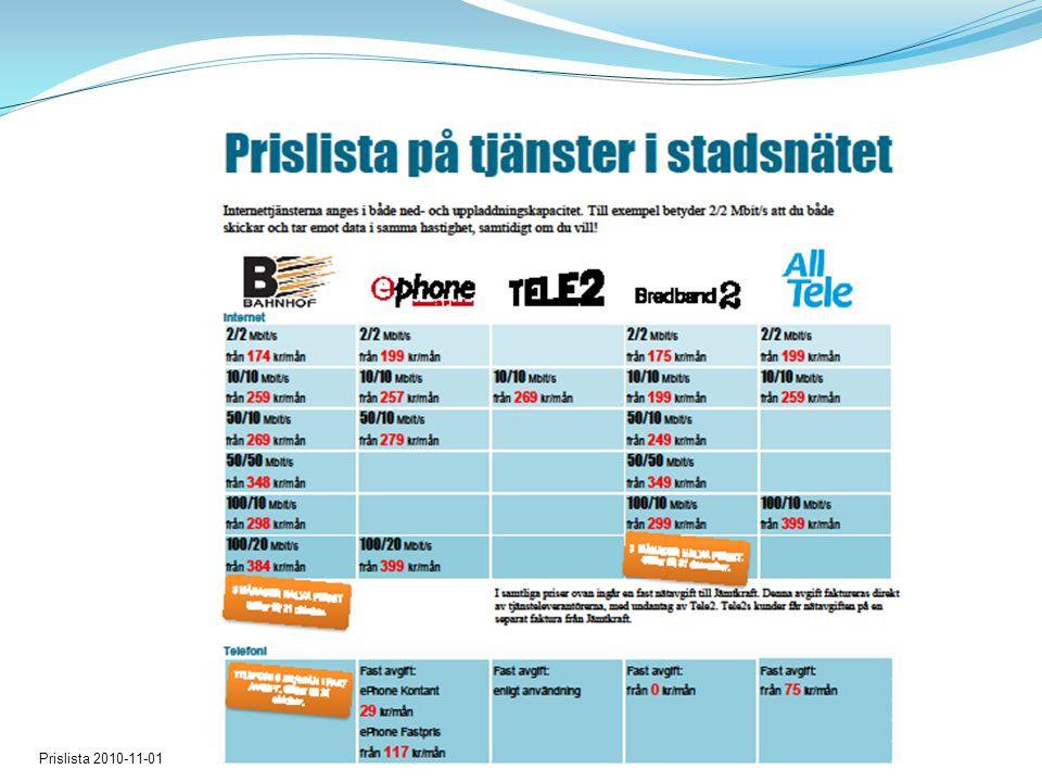 Prislista 2010-11-01