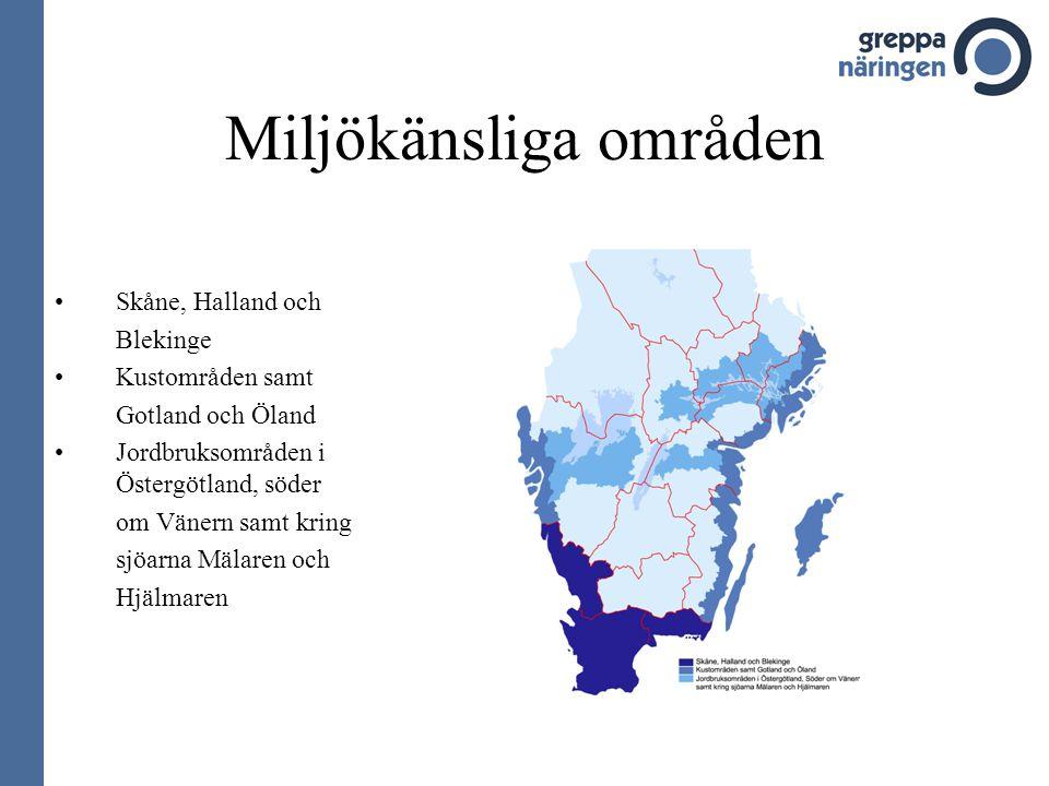 Miljökänsliga områden •Skåne, Halland och Blekinge •Kustområden samt Gotland och Öland •Jordbruksområden i Östergötland, söder om Vänern samt kring sjöarna Mälaren och Hjälmaren