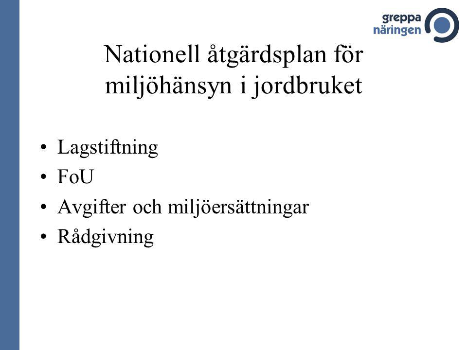 Nationell åtgärdsplan för miljöhänsyn i jordbruket •Lagstiftning •FoU •Avgifter och miljöersättningar •Rådgivning