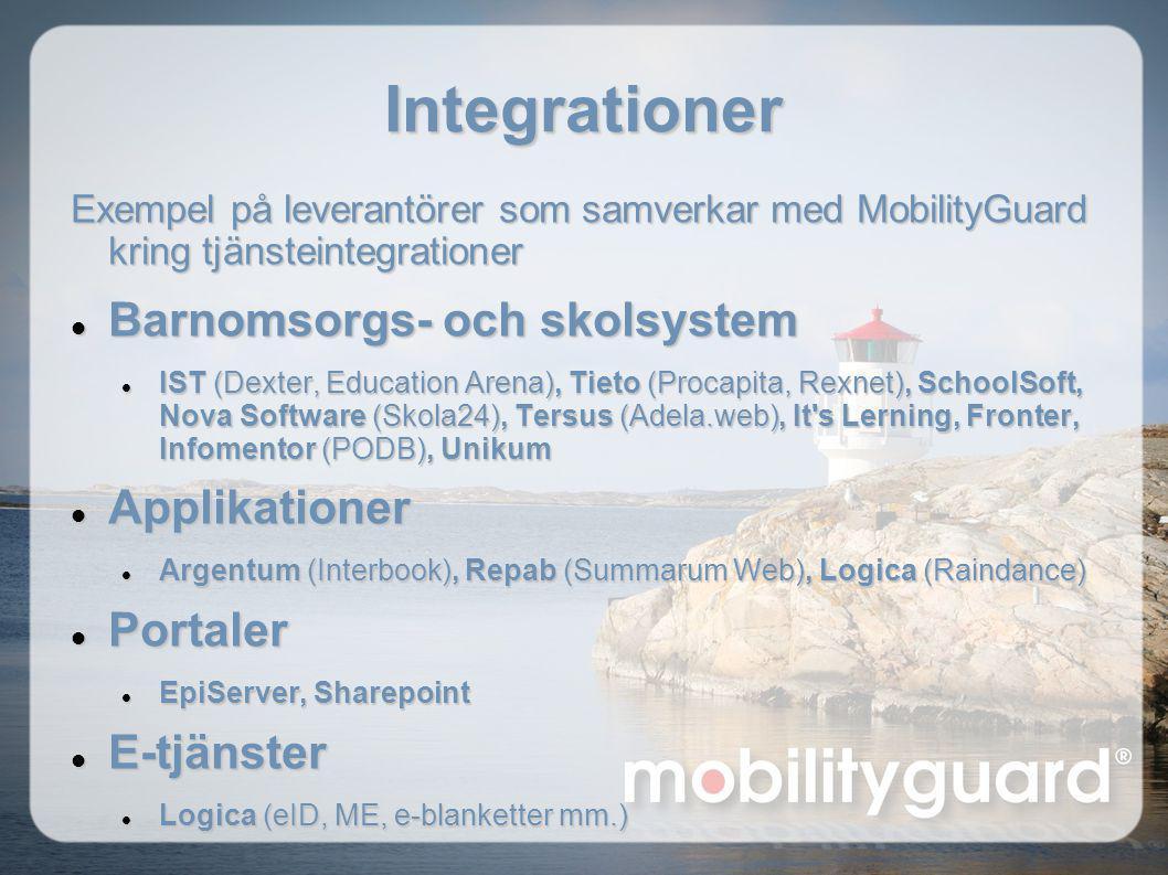 Integrationer Exempel på leverantörer som samverkar med MobilityGuard kring tjänsteintegrationer  Barnomsorgs- och skolsystem  IST (Dexter, Educatio