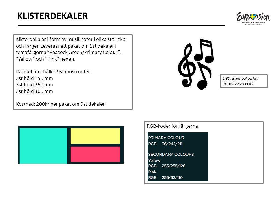KLISTERDEKALER Klisterdekaler i form av musiknoter i olika storlekar och färger.