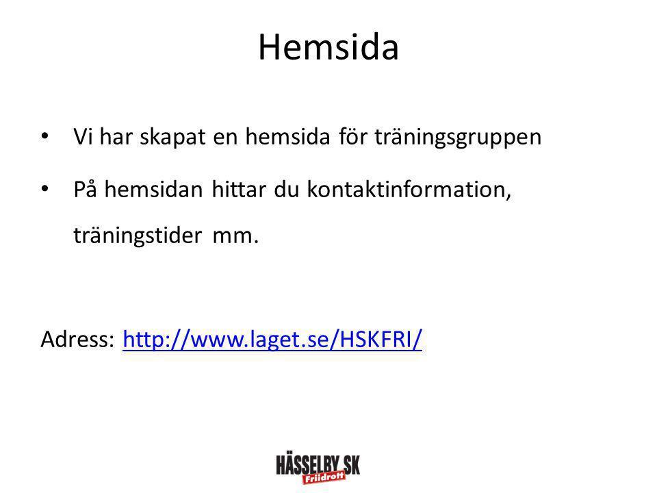 Hemsida • Vi har skapat en hemsida för träningsgruppen • På hemsidan hittar du kontaktinformation, träningstider mm.