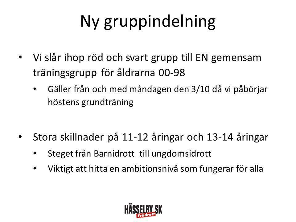 Ny gruppindelning • Vi slår ihop röd och svart grupp till EN gemensam träningsgrupp för åldrarna 00-98 • Gäller från och med måndagen den 3/10 då vi p