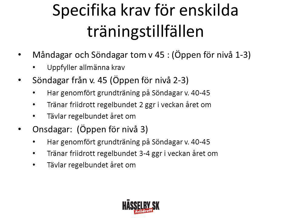 Specifika krav för enskilda träningstillfällen • Måndagar och Söndagar tom v 45 : (Öppen för nivå 1-3) • Uppfyller allmänna krav • Söndagar från v.