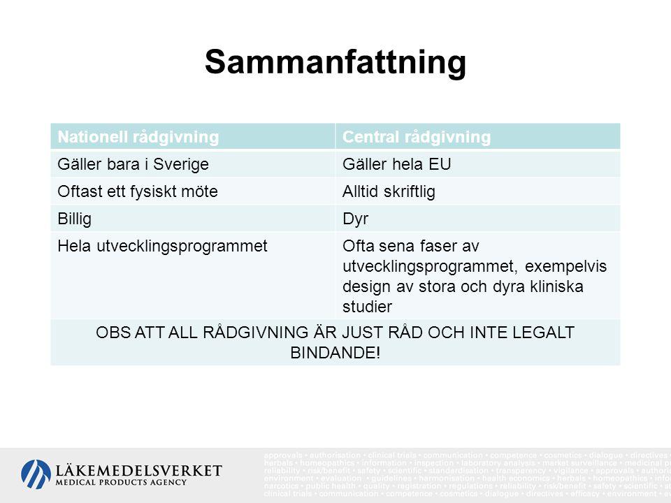 Sammanfattning Nationell rådgivningCentral rådgivning Gäller bara i SverigeGäller hela EU Oftast ett fysiskt möteAlltid skriftlig BilligDyr Hela utvecklingsprogrammetOfta sena faser av utvecklingsprogrammet, exempelvis design av stora och dyra kliniska studier OBS ATT ALL RÅDGIVNING ÄR JUST RÅD OCH INTE LEGALT BINDANDE!
