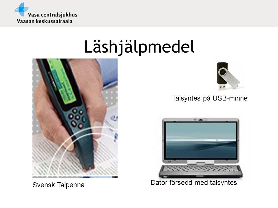 Läshjälpmedel Svensk Talpenna Talsyntes på USB-minne Dator försedd med talsyntes