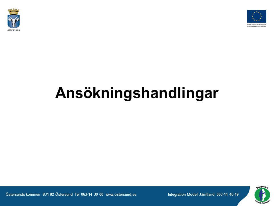 Östersunds kommun 831 82 Östersund Tel 063-14 30 00 www.ostersund.seIntegration Modell Jämtland 063-14 40 49 Ansökningshandlingar