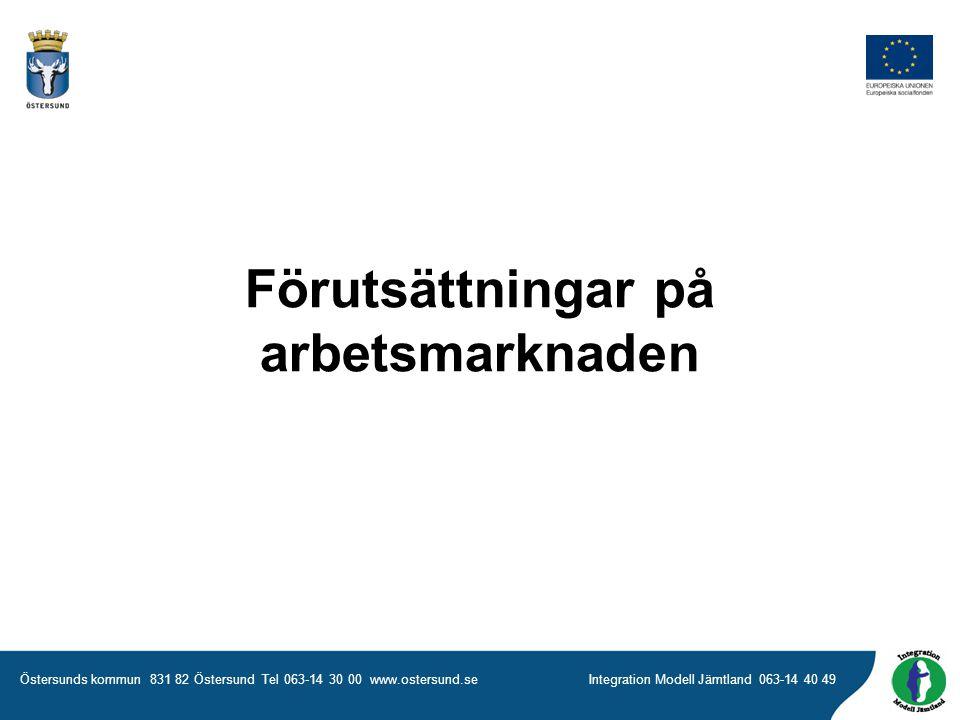 Östersunds kommun 831 82 Östersund Tel 063-14 30 00 www.ostersund.seIntegration Modell Jämtland 063-14 40 49 Förutsättningar på arbetsmarknaden