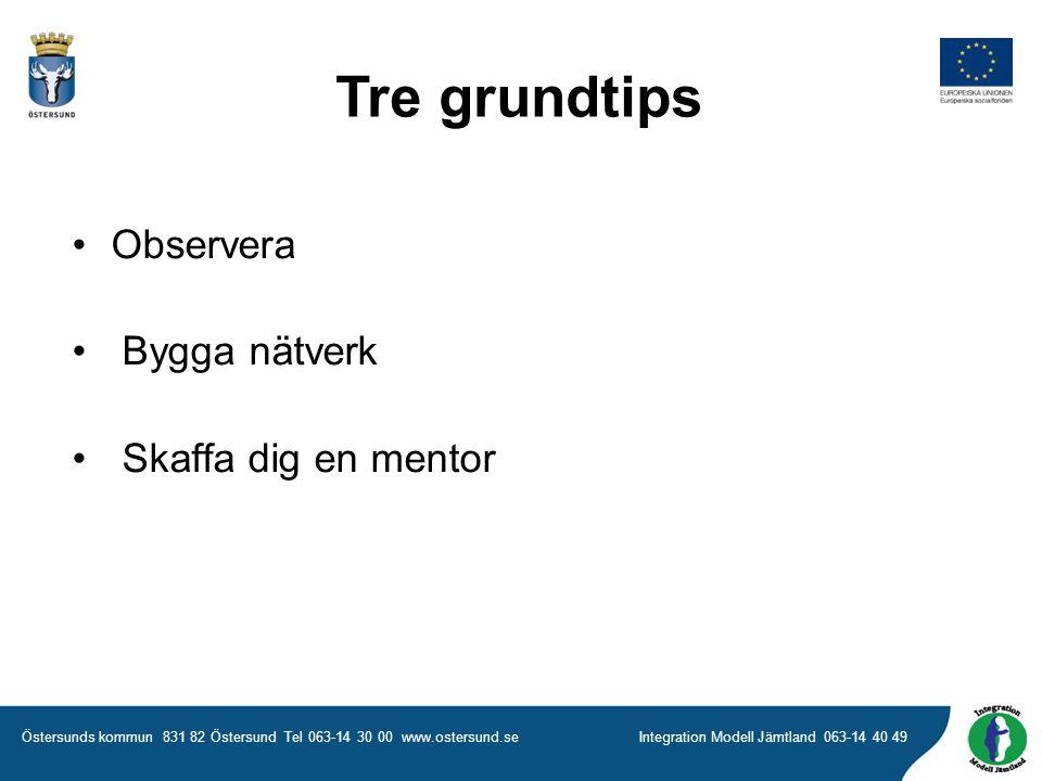 Östersunds kommun 831 82 Östersund Tel 063-14 30 00 www.ostersund.seIntegration Modell Jämtland 063-14 40 49 Tre grundtips •Observera • Bygga nätverk • Skaffa dig en mentor