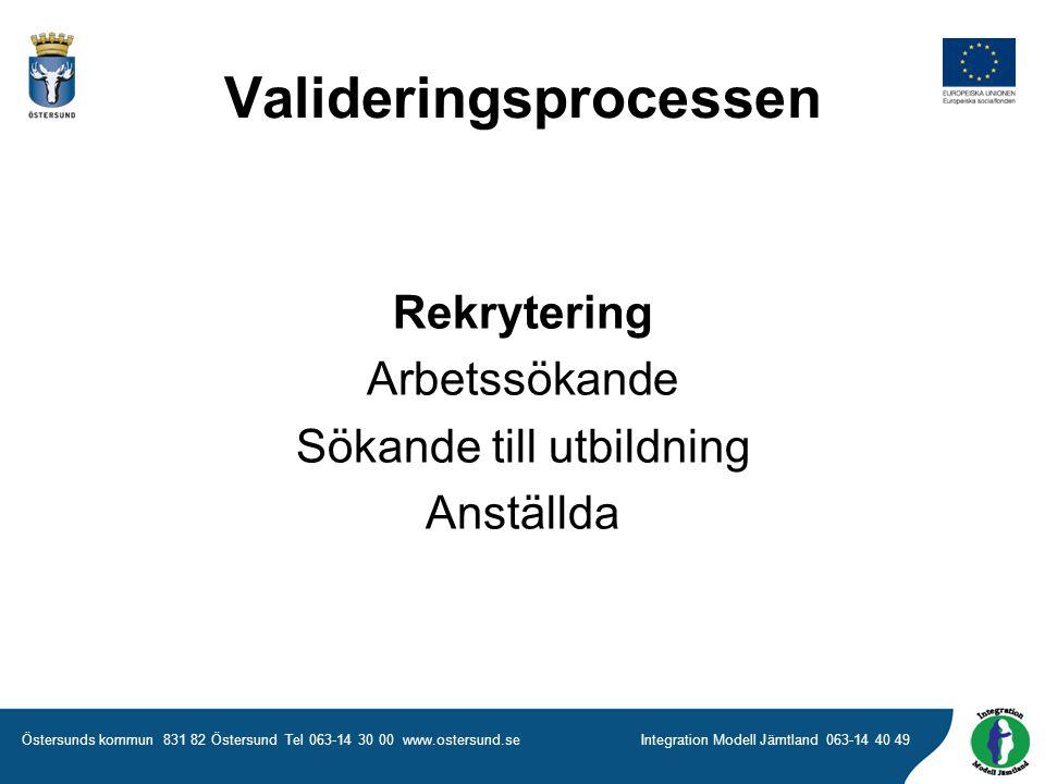 Östersunds kommun 831 82 Östersund Tel 063-14 30 00 www.ostersund.seIntegration Modell Jämtland 063-14 40 49 Rekrytering Arbetssökande Sökande till utbildning Anställda Valideringsprocessen