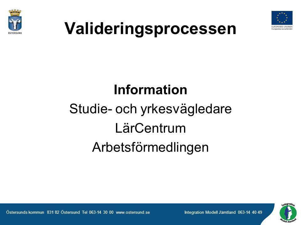 Östersunds kommun 831 82 Östersund Tel 063-14 30 00 www.ostersund.seIntegration Modell Jämtland 063-14 40 49 Information Studie- och yrkesvägledare LärCentrum Arbetsförmedlingen Valideringsprocessen