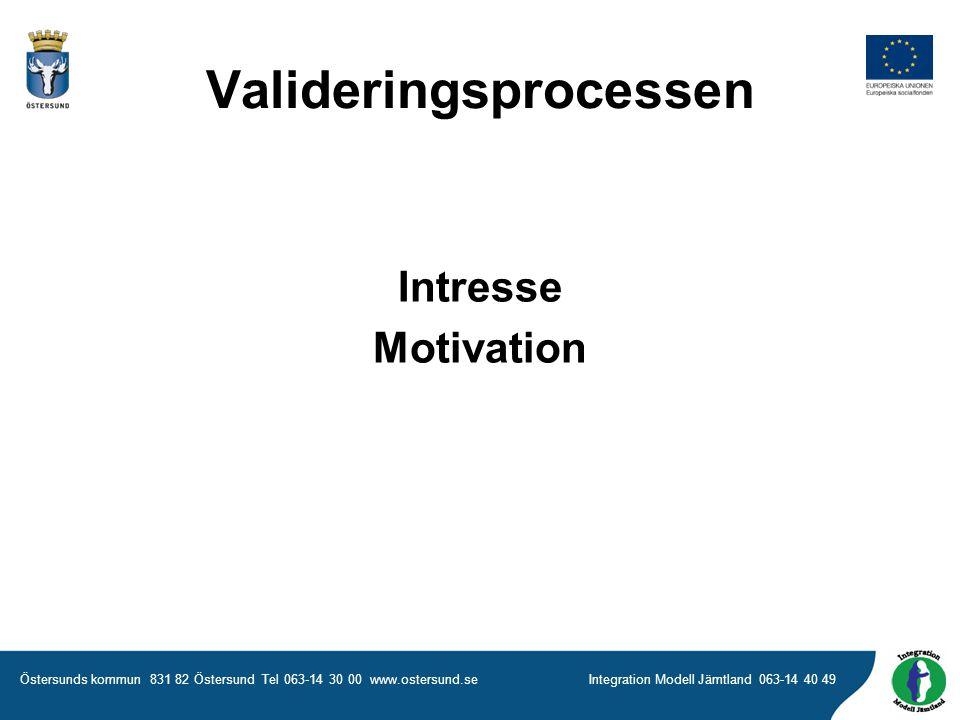Östersunds kommun 831 82 Östersund Tel 063-14 30 00 www.ostersund.seIntegration Modell Jämtland 063-14 40 49 Intresse Motivation Valideringsprocessen