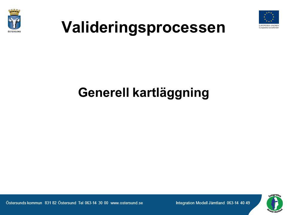 Östersunds kommun 831 82 Östersund Tel 063-14 30 00 www.ostersund.seIntegration Modell Jämtland 063-14 40 49 Generell kartläggning Valideringsprocessen
