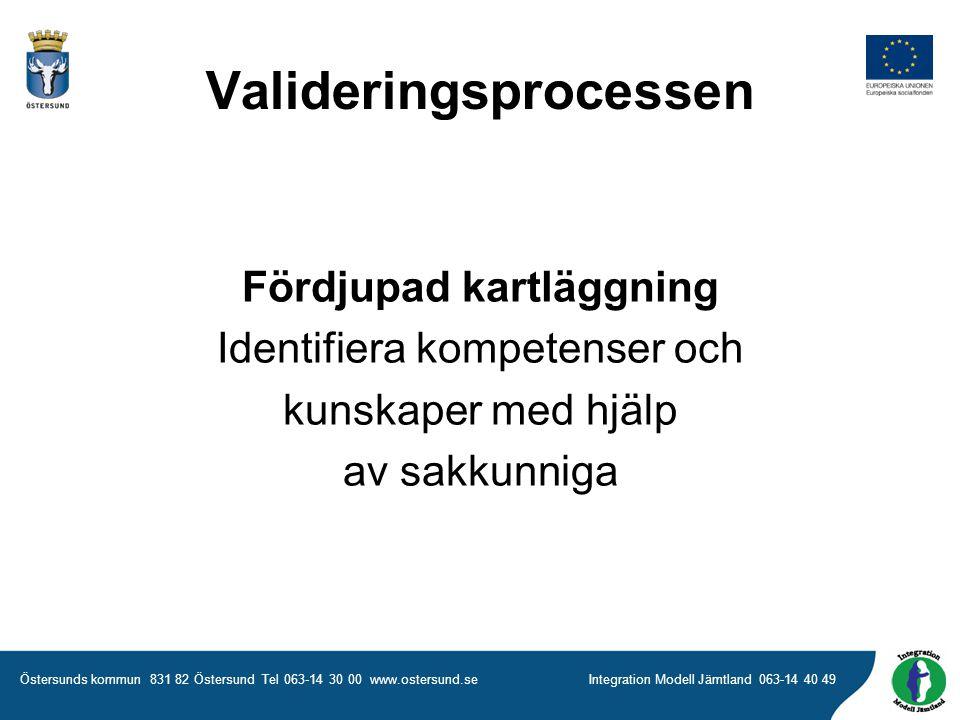 Östersunds kommun 831 82 Östersund Tel 063-14 30 00 www.ostersund.seIntegration Modell Jämtland 063-14 40 49 Fördjupad kartläggning Identifiera kompetenser och kunskaper med hjälp av sakkunniga Valideringsprocessen