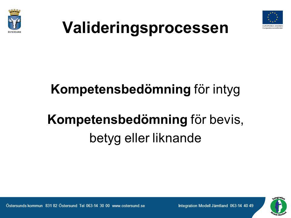 Östersunds kommun 831 82 Östersund Tel 063-14 30 00 www.ostersund.seIntegration Modell Jämtland 063-14 40 49 Kompetensbedömning för intyg Kompetensbedömning för bevis, betyg eller liknande Valideringsprocessen