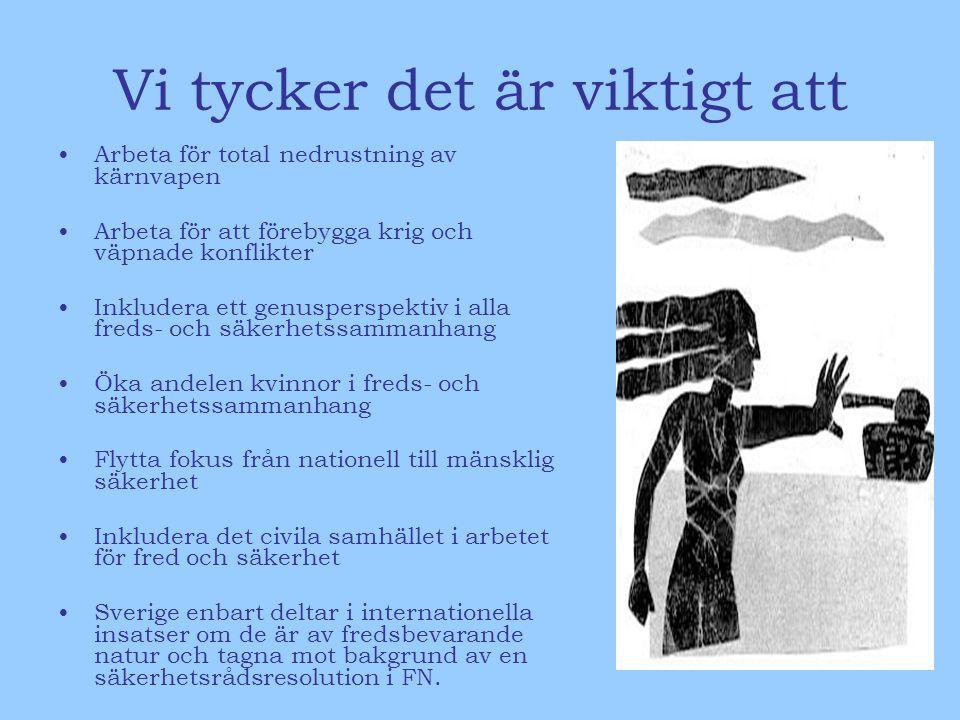 Vi tycker det är viktigt att •Arbeta för total nedrustning av kärnvapen •Arbeta för att förebygga krig och väpnade konflikter •Inkludera ett genusperspektiv i alla freds- och säkerhetssammanhang •Öka andelen kvinnor i freds- och säkerhetssammanhang •Flytta fokus från nationell till mänsklig säkerhet •Inkludera det civila samhället i arbetet för fred och säkerhet •Sverige enbart deltar i internationella insatser om de är av fredsbevarande natur och tagna mot bakgrund av en säkerhetsrådsresolution i FN.