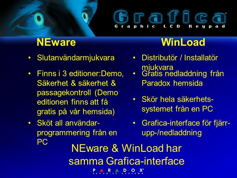 NEware WinLoad •Distributör / Installatör mjukvara NEware & WinLoad har samma Grafica-interface •Skör hela säkerhets- systemet från en PC •Grafica-interface för fjärr- upp-/nedladdning •Slutanvändarmjukvara •Sköt all användar- programmering från en PC •Gratis nedladdning från Paradox hemsida •Finns i 3 editioner:Demo, Säkerhet & säkerhet & passagekontroll (Demo editionen finns att få gratis på vår hemsida)