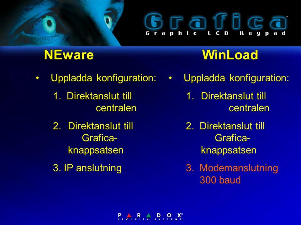 NEware WinLoad •Uppladda konfiguration: 1.Direktanslut till centralen 2. Direktanslut till Grafica- knappsatsen •Uppladda konfiguration: 1. Direktansl