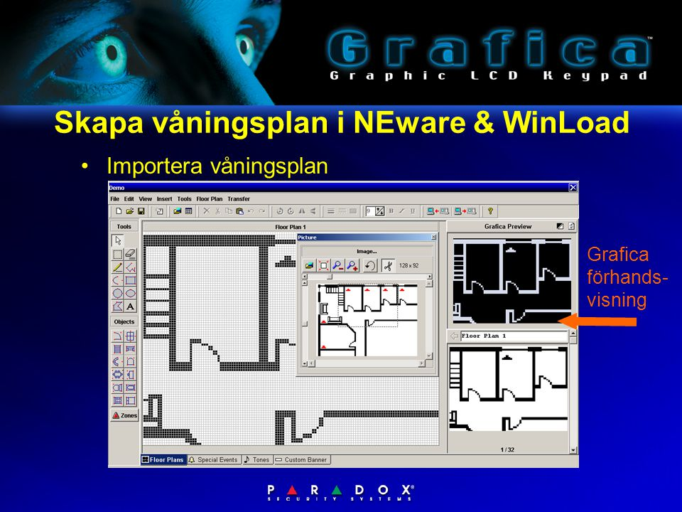 Skapa våningsplan i NEware & WinLoad •Importera våningsplan Grafica förhands- visning