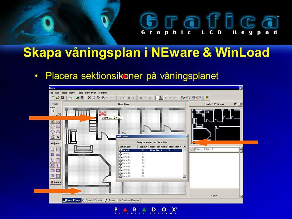 Skapa våningsplan i NEware & WinLoad •Placera sektionsikoner på våningsplanet