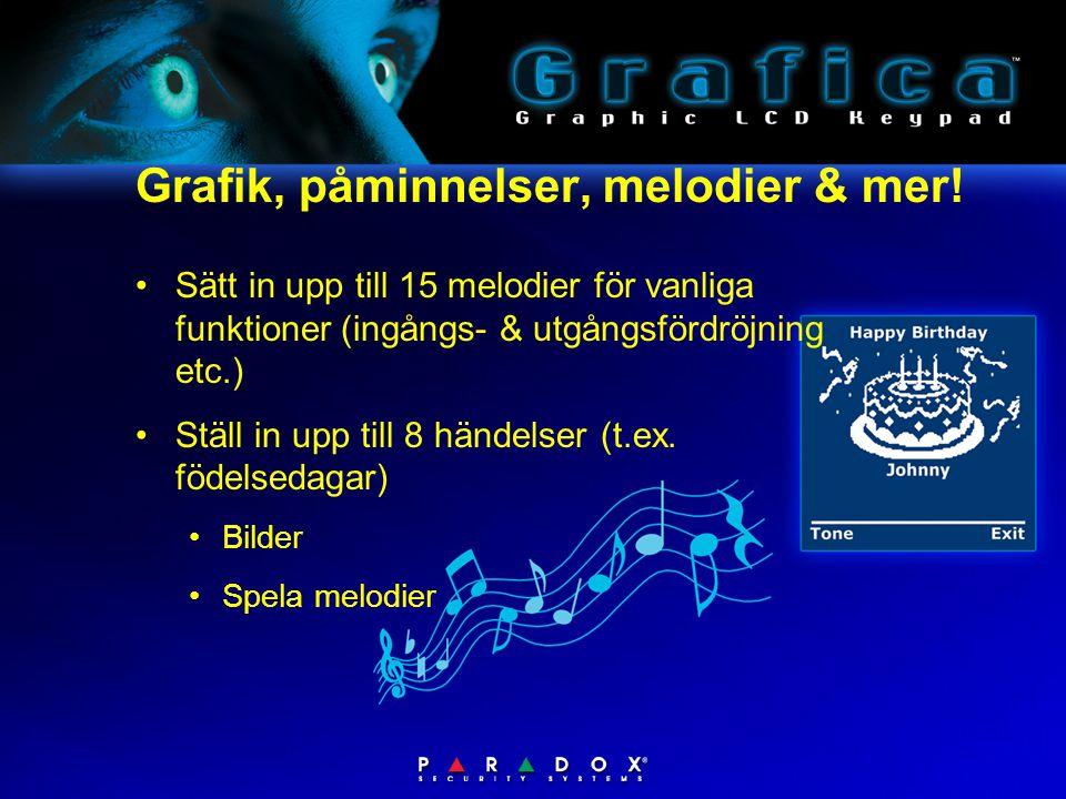 Grafik, påminnelser, melodier & mer! •Sätt in upp till 15 melodier för vanliga funktioner (ingångs- & utgångsfördröjning etc.) •Ställ in upp till 8 hä