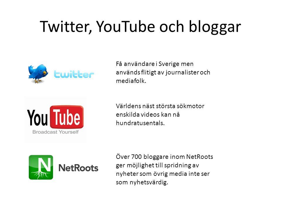 Twitter, YouTube och bloggar Få användare i Sverige men används flitigt av journalister och mediafolk. Världens näst största sökmotor enskilda videos