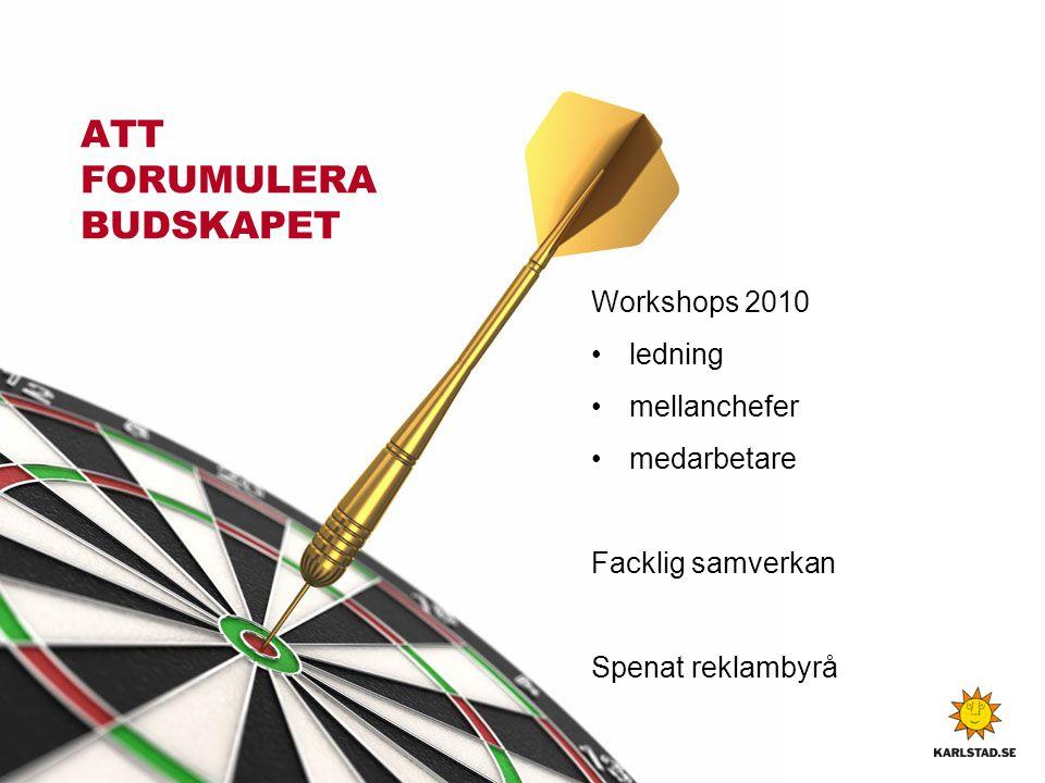 ATT FORUMULERA BUDSKAPET Workshops 2010 • ledning • mellanchefer • medarbetare Facklig samverkan Spenat reklambyrå