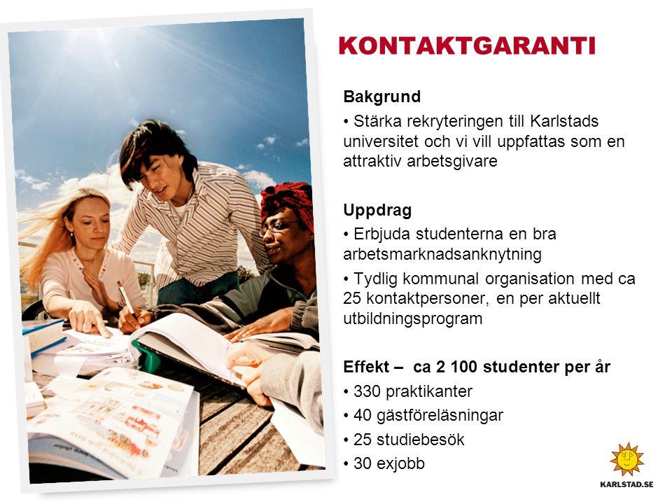 KONTAKTGARANTI Bakgrund • Stärka rekryteringen till Karlstads universitet och vi vill uppfattas som en attraktiv arbetsgivare Uppdrag • Erbjuda studen