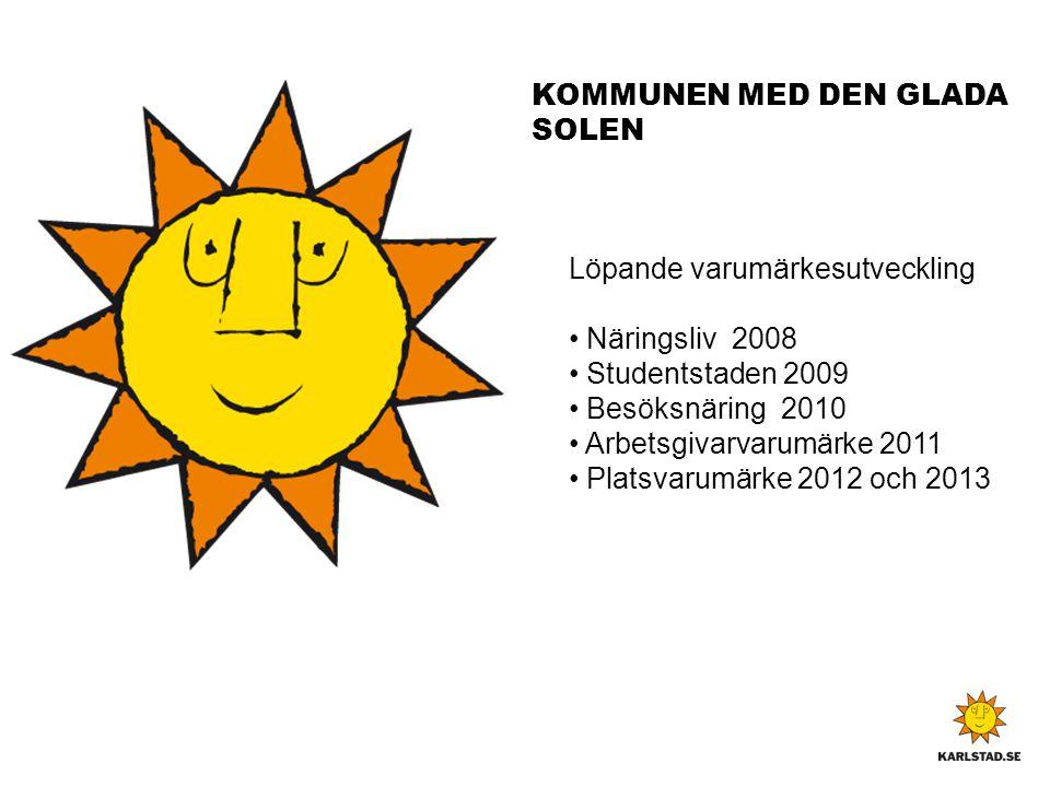 KOMMUNEN MED DEN GLADA SOLEN Löpande varumärkesutveckling • Näringsliv 2008 • Studentstaden 2009 • Besöksnäring 2010 • Arbetsgivarvarumärke 2011 • Pla