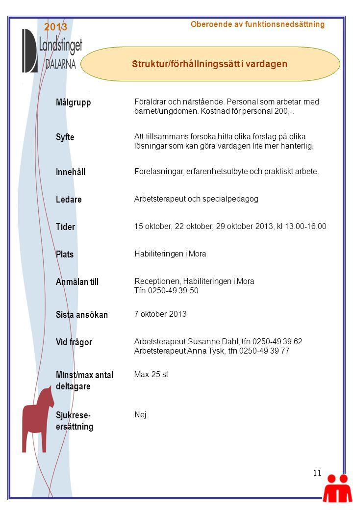 11 Struktur/förhållningssätt i vardagen Oberoende av funktionsnedsättning Målgrupp Föräldrar och närstående.