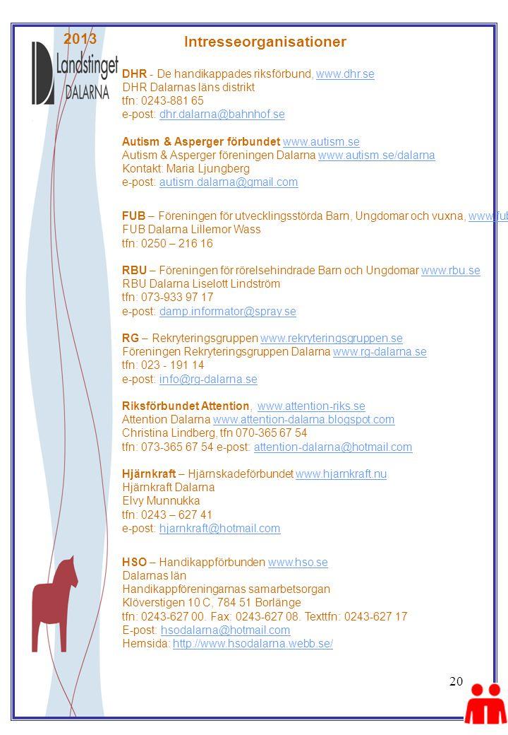 20 2013 DHR - De handikappades riksförbund, www.dhr.se DHR Dalarnas läns distrikt tfn: 0243-881 65 e-post: dhr.dalarna@bahnhof.se Autism & Asperger förbundet www.autism.se Autism & Asperger föreningen Dalarna www.autism.se/dalarna Kontakt: Maria Ljungberg e-post: autism.dalarna@gmail.comwww.dhr.sedhr.dalarna@bahnhof.sewww.autism.sewww.autism.se/dalarnaautism.dalarna@gmail.com FUB – Föreningen för utvecklingsstörda Barn, Ungdomar och vuxna, www.fub.se FUB Dalarna Lillemor Wass tfn: 0250 – 216 16 RBU – Föreningen för rörelsehindrade Barn och Ungdomar www.rbu.se RBU Dalarna Liselott Lindström tfn: 073-933 97 17 e-post: damp.informator@spray.se RG – Rekryteringsgruppen www.rekryteringsgruppen.se Föreningen Rekryteringsgruppen Dalarna www.rg-dalarna.se tfn: 023 - 191 14 e-post: info@rg-dalarna.se Riksförbundet Attention, www.attention-riks.se Attention Dalarna www.attention-dalarna.blogspot.com Christina Lindberg, tfn 070-365 67 54 tfn: 073-365 67 54 e-post: attention-dalarna@hotmail.com Hjärnkraft – Hjärnskadeförbundet www.hjarnkraft.nu Hjärnkraft Dalarna Elvy Munnukka tfn: 0243 – 627 41 e-post: hjarnkraft@hotmail.comwww.fub.sewww.rbu.sedamp.informator@spray.sewww.rekryteringsgruppen.sewww.rg-dalarna.seinfo@rg-dalarna.sewww.attention-riks.sewww.attention-dalarna.blogspot.comattention-dalarna@hotmail.comwww.hjarnkraft.nuhjarnkraft@hotmail.com HSO – Handikappförbunden www.hso.se Dalarnas län Handikappföreningarnas samarbetsorgan Klöverstigen 10 C, 784 51 Borlänge tfn: 0243-627 00.