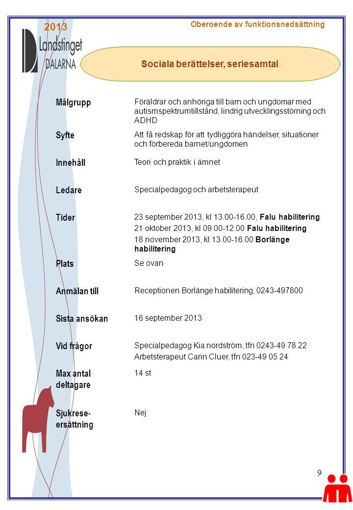 9 Sociala berättelser, seriesamtal Oberoende av funktionsnedsättning Målgrupp Föräldrar och anhöriga till barn och ungdomar med autismspektrumtillstånd, lindrig utvecklingsstörning och ADHD Syfte Att få redskap för att tydliggöra händelser, situationer och förbereda barnet/ungdomen Innehåll Teori och praktik i ämnet Ledare Specialpedagog och arbetsterapeut Tider 23 september 2013, kl 13.00-16.00, Falu habilitering 21 oktober 2013, kl 09.00-12.00 Falu habilitering 18 november 2013, kl 13.00-16.00 Borlänge habilitering Plats Se ovan Anmälan till Receptionen Borlänge habilitering, 0243-497800 Sista ansökan 16 september 2013 Vid frågor Specialpedagog Kia nordström, tfn 0243-49 78 22 Arbetsterapeut Carin Cluer, tfn 023-49 05 24 Max antal deltagare 14 st Sjukrese- ersättning Nej 2013