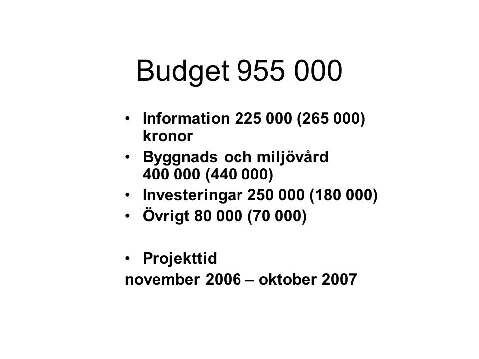 Budget 955 000 •Information 225 000 (265 000) kronor •Byggnads och miljövård 400 000 (440 000) •Investeringar 250 000 (180 000) •Övrigt 80 000 (70 000