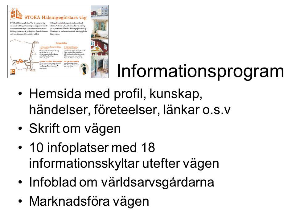 Informationsprogram •Hemsida med profil, kunskap, händelser, företeelser, länkar o.s.v •Skrift om vägen •10 infoplatser med 18 informationsskyltar ute