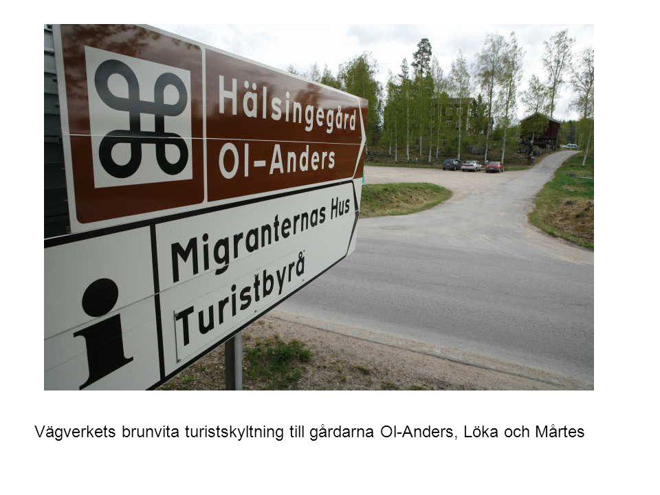 Skyltar och informationstavlor Vägverkets brunvita turistskyltning till gårdarna Ol-Anders, Löka och Mårtes