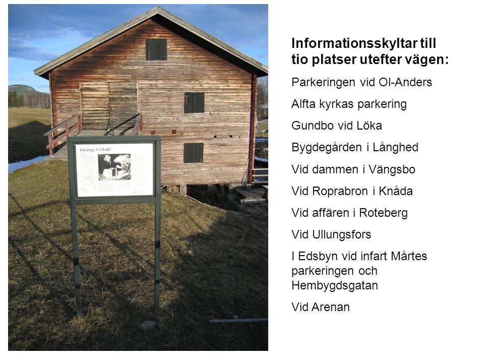 Informationsskyltar till tio platser utefter vägen: Parkeringen vid Ol-Anders Alfta kyrkas parkering Gundbo vid Löka Bygdegården i Långhed Vid dammen